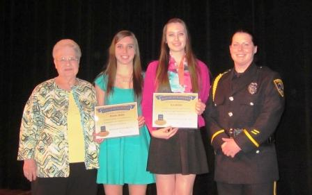 Mary Link, ACT-NOW Chairperson, Scholarship Recipient Janelle Gavin, Scholarship recipient Lea Stites and Officer Pam Williams