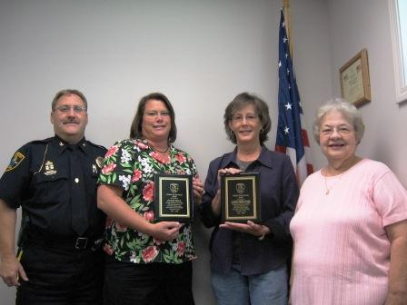 Co Citizens of the year Julie Hill and Laurel Smith Tudor with Chief Hill and ACT-NOW Chairperson Mary Link